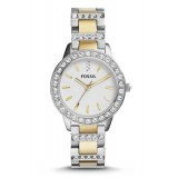 Fossil ES2409 Jesse Two-Tone White Dial Stainless Steel Watch (Gold & Silver)