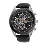 Seiko SSB183P1 Gents Chronograph Leather Strap Watch (Black, Silver & Rose Gold)