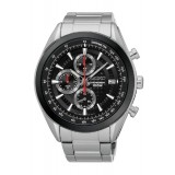 Seiko SSB201P1 Gents Chronograph Stainless Steel Watch (Black, Silver & Red)