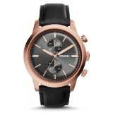 Fossil Men's Townsman Chronograph Black Leather Strap Watch FS5097 (Black & Rose Gold)