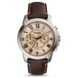 Fossil Men's Grant Chronograph Dark Brown Leather Strap Watch FS5152 (Silver & Dark Brown)