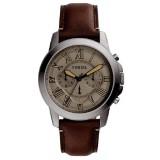 Fossil Men's Grant Chronograph Dark Brown Leather Strap Watch FS5214 (Dark Brown)