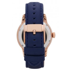 Fossil Men's Mechanical Townsman Multifunction Navy Leather Strap Watch ME1138 (Navy & Rose Gold)