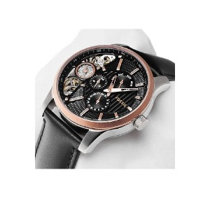 Fossil Men's Mechanical Twist Black Leather Strap Watch ME1099 (Silver, Rose Gold & Black)