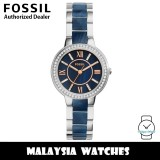 (OFFICIAL WARRANTY) Fossil Women's ES4009 Virginia Stainless Steel and Blue Acetate Watch (2 Years Fossil Warranty)