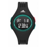Adidas Performance ADP3229 Uraha LCD Dial Black Resin Strap Unisex Watch (Black & Green)