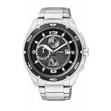 CITIZEN AN3440-53E Gents Chronograph Silver Stainless Steel Strap Watch (Silver & Black)