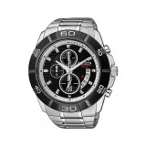 CITIZEN AN3411-51E Gents Chronograph Silver Stainless Steel Strap Watch (Silver & Black)