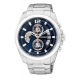 CITIZEN AN3420-51L Gents Chronograph Silver Stainless Steel Strap Watch (Silver & Black)