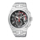 CITIZEN AN3450-50E Gents Chronograph Silver Stainless Steel Strap Watch (Silver & Black)