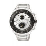 CITIZEN AN3401-55A Gents Chronograph Silver Stainless Steel Strap Watch (Silver & Black)