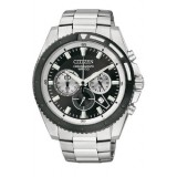 CITIZEN AN8011-52E Gents Chronograph Silver Stainless Steel Strap Watch (Silver & Black)
