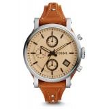 Fossil Women's ES4046 Original Boyfriend Chronograph Dark Brown Leather Watch (Dark Brown)