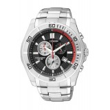 CITIZEN AN7100-50F Gents Chronograph Silver Stainless Steel Strap Watch (Silver & Black)