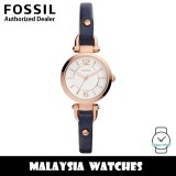 (OFFICIAL WARRANTY) Fossil ES4026 Georgia Mini Three-Hand Rose Gold-Tone Case Indigo-Dyed Leather Watch (2 Years Fossil Warranty)