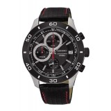Seiko Gents Chronograph Black Leather Strap Watch SSB193P1 (Black, Red & Silver)