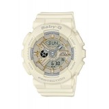 (OFFICIAL MALAYSIA WARRANTY) Casio Baby-G BA-110GA-7A1 Standard Analog & Digital Women's Resin Watch (White & Gold)