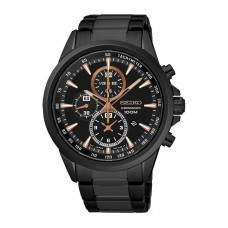 (NEW) Seiko Criteria LEE HOM SNDG89P1 Gents Sapphire Glass Chronograph Watch (Black & Rose Gold)