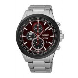 (NEW) Seiko Criteria LEE HOM SNDG75P1 Gents Sapphire Glass Chronograph Watch (Silver & Maroon)