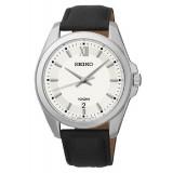 Seiko Mens Classics Black Leather Strap Watch SGEG59P2 (Black & Silver)