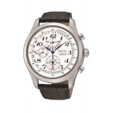 Seiko Chronograph SPC131P1 Alarm & Perpetual Calendar White Dial Black Leather Strap Gents Watch