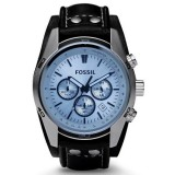 Fossil CH2564 Coachman Chronograph Black Leather Watch (Black & Blue)