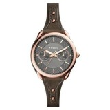 Fossil Women's ES4050 Tailor Multifunction Gunmetal Dial Leather Watch (Grey)