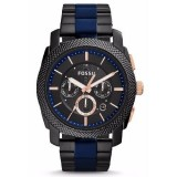 Fossil Gent FS5164 Machine Chronograph Two-Tone Stainless Steel Watch (Black & Blue)
