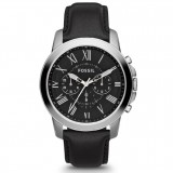 Fossil Men FS4812 Grant Chronograph Black Leather Watch (Black)