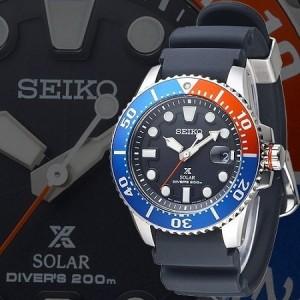 (NEW) Seiko Prospex Solar Diver's 200M SNE439P1 Black Rubber / Silicone Strap Gents Watch (Red, Blue & Black)