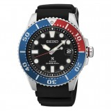 (NEW) Seiko Prospex Solar Diver's 200M SNE439P1 Black Rubber / Silicone Strap Gents Watch (Red, Blue & Black)