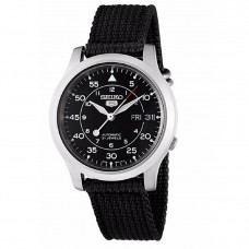 Seiko 5 Military SNK809K2 Automatic See-thru Back Black Nylon Strap Watch (Black)