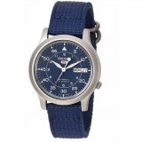 Seiko 5 Military SNK807K2 Automatic See-thru Back Blue Nylon Strap Watch (Blue)