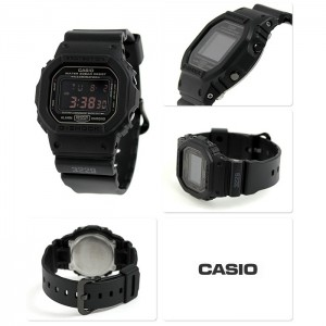 (OFFICIAL MALAYSIA WARRANTY) Casio G-SHOCK DW-5600MS-1 Black Men's Resin Red LCD Standard Digital Watch