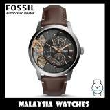 (OFFICIAL WARRANTY) Fossil Men's ME1163 Townsman Twist Multifunction Dark Brown Leather Strap Watch (2 Years International Warranty)