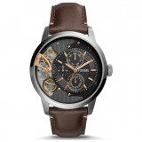 Fossil Men's ME1163 Mechanical Townsman Multifunction Dark Brown Leather Strap Watch (Dark Brown)