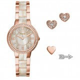 Fossil Women ES3965SET Virginia Rose-Tone Stainless Steel Watch & Earring Set (Rose Gold)