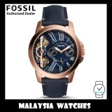 (OFFICIAL WARRANTY) Fossil Men's ME1162 Grant Quartz Twist Three-Hand Navy Blue Leather Strap Watch (2 Years International Warranty)