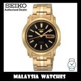 Seiko 5 SNKL88K1 Automatic See-thru Back Black Dial Gold-Tone Stainless Steel Bracelet Gents Watch