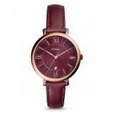 Fossil Women's ES4099 Jacqueline Three Hand Date Wine Case Wine Leather Watch (Wine)