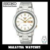 Seiko 5 SNKK07K1 Automatic See-thru Back White Dial Gold Tone Hands Stainless Steel Bracelet Gents Watch