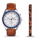 Fossil Men's CH3090SET Sport 54 Chronograph Luggage Leather Watch & Bracelet Box Set (Silver & Brown)