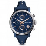 Fossil Women's ES4113 Original Boyfriend Sport Chronograph Navy Blue Leather Watch (Blue & Rose Gold)