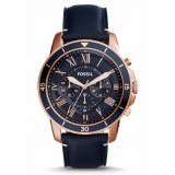 Fossil Men's FS5237 Grant Sport Chronograph Navy Blue Leather Watch (Blue & Rose Gold)