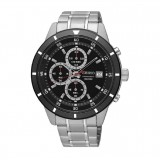 Seiko Men's Chronograph Stainless Steel Band Watch SKS569P1 (Silver & Black)