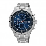 Seiko Men's Chronograph Stainless Steel Band Watch SKS559P1 (Silver & Blue)
