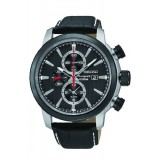 Seiko Chronograph Black Leather Watch SNAF47P2