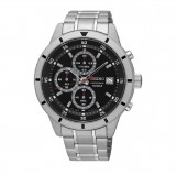 Seiko Men's Chronograph Stainless Steel Band Watch SKS561P1 (Silver & Black)