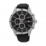 Seiko Men's Chronograph Black Leather Strap Watch SKS571P1 (Silver & Black)