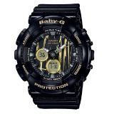 (NEW) (OFFICIAL MALAYSIA WARRANTY) Casio Baby-G BA-120SP-1A Standard Analog & Digital Women's Resin Watch (Black & Gold)